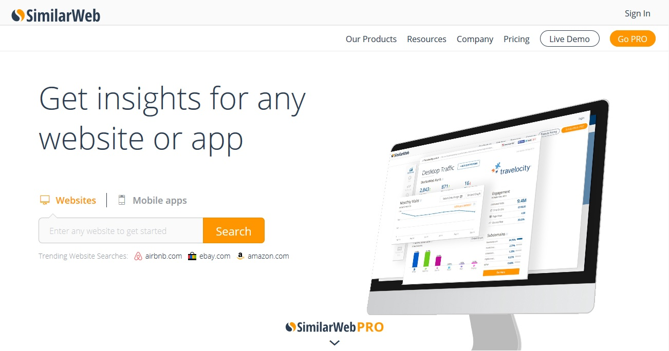 SimilarWebの検索ページ