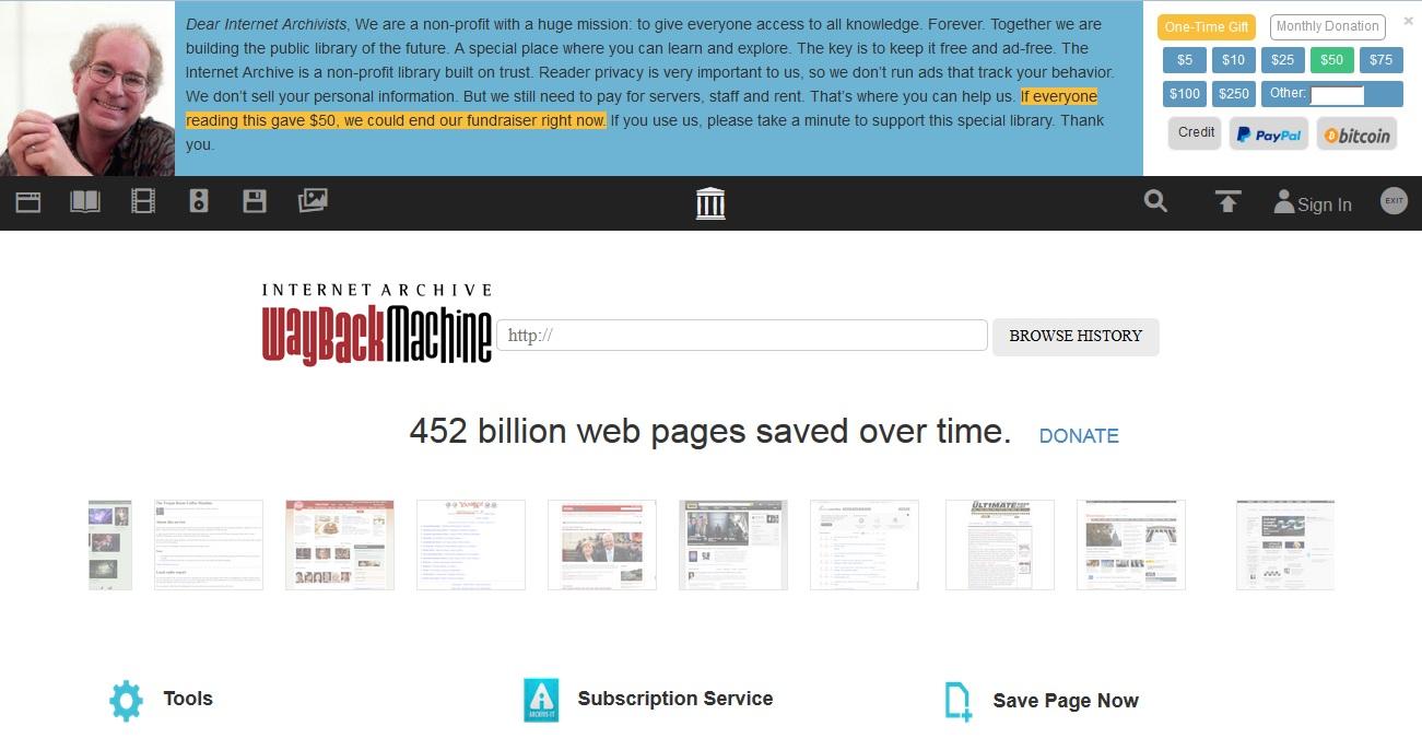 Wayback-Machineの検索ページ